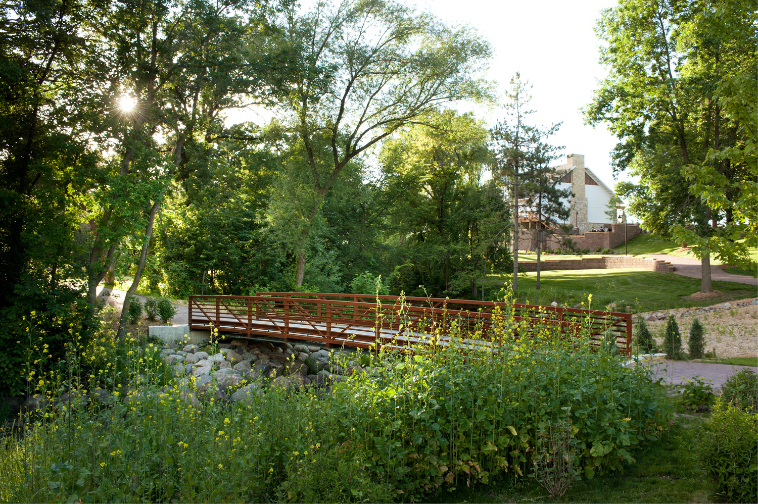landscaping and bridge over stream at winery