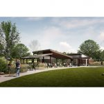 rendering of a pavilion at a lake