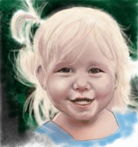 watercolor portrait of young girl with blonde hair