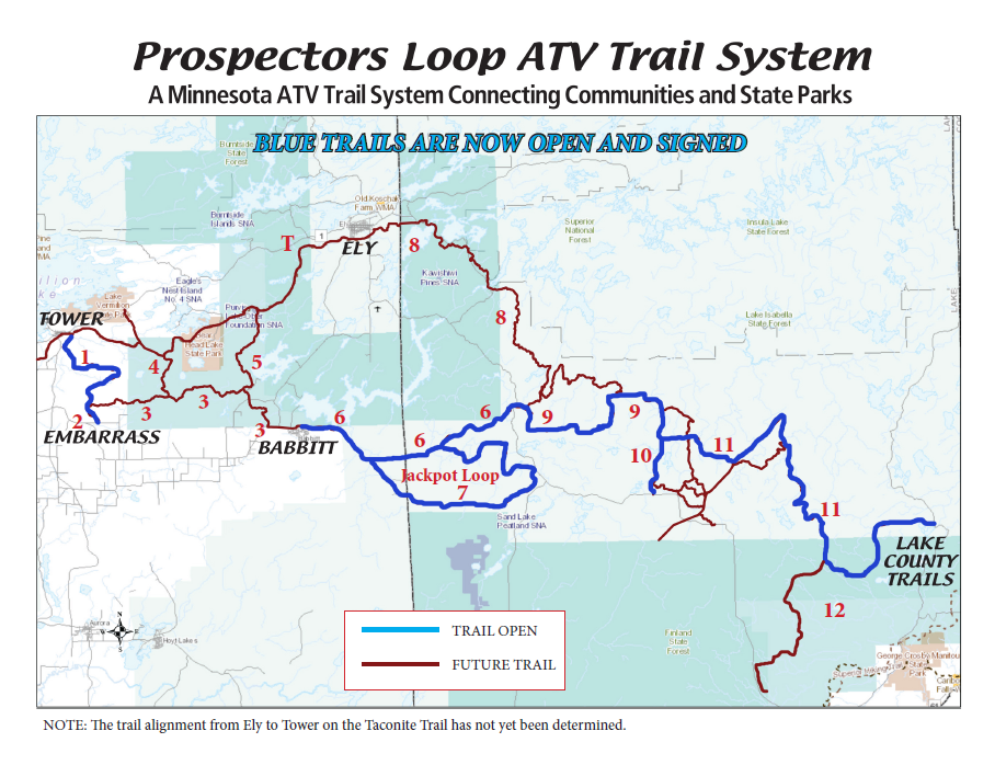 map of Prospectors Loop ATV, OHV Trails in Minnesota
