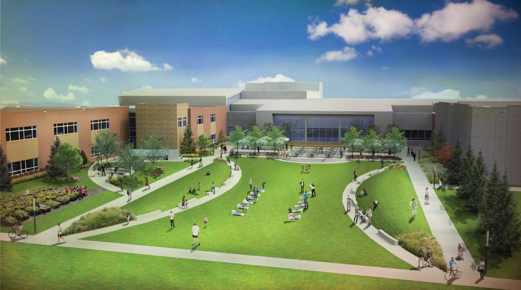 rendering of a high school courtyard